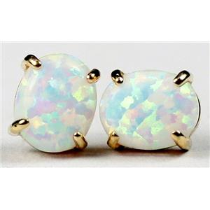E102C, Created White Opal,14k Gold Earrings