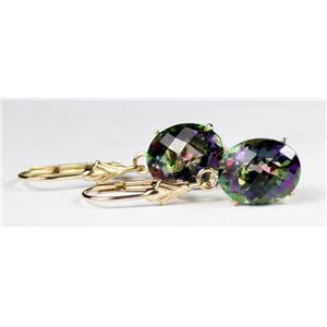 E107, Mystic Fire Topaz,14k Gold Earrings