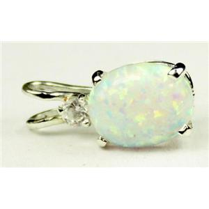 SP020, Created White Opal, 925 Sterling Silver Pendant