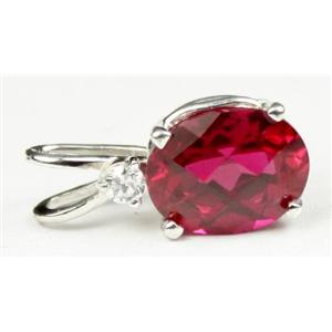 SP020, Created Ruby, 925 Sterling Silver Pendant