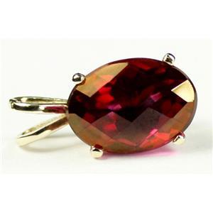 P006, Crimson Fire Topaz 14K Gold Pendant