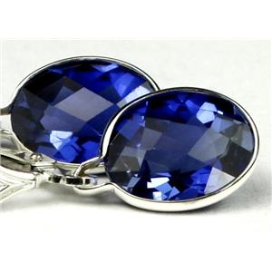 SE101, Created Blue Sapphire, 925 Sterling Silver Earrings
