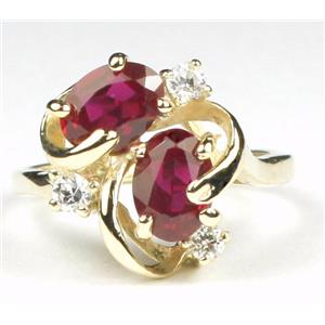 R016, Created Ruby, Gold Ring