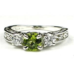 SR254, Peridot w/ Accents, Sterling Silver Ring