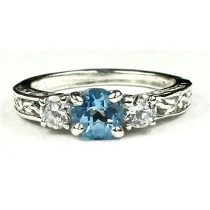 SR254, Swiss Blue Topaz w/ Accents, Sterling Silver Ring