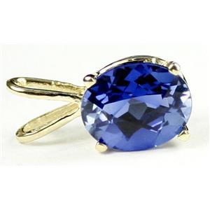 P002, Created Blue Sapphire 14k Gold Pendant