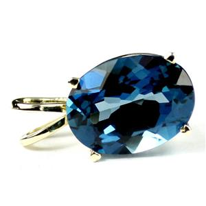 P040, London Blue Topaz 14K Gold Pendant