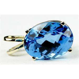 P040, Swiss Blue Topaz 14K Gold Pendant