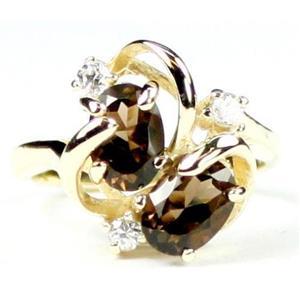 R016, Smoky Quartz, Gold Ring