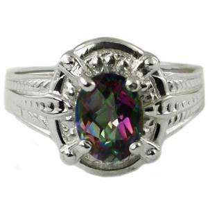 SR284, Mystic Fire Topaz, 925 Sterling Silver Ring
