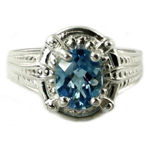 SR284, Swiss Blue Topaz, 925 Sterling Silver Ring