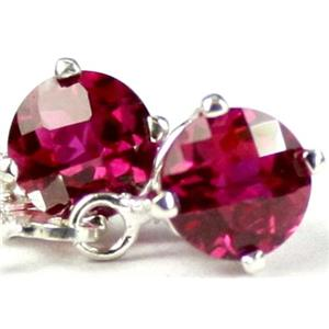 SE017, Created Ruby, 925 Sterling Silver Earrings