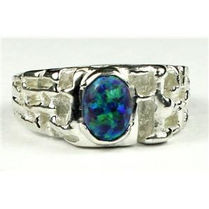 SR197, Created Blue/Green Opal, 925 Sterling Silver Ring