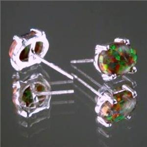 SE002C, Created Red/Brown Opal, 925 Sterling Silver Earrings