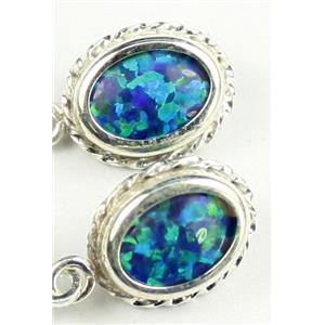 SE006, Created Blue/Green Opal, 925 Sterling Silver Rope Earrings