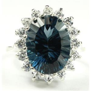 SR310, Quantum Cut London Blue Topaz Sterling Silver Ring