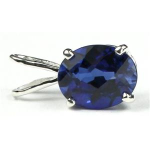 SP002, Created Blue Sapphire, 925 Sterling Silver Pendant
