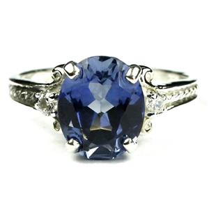 SR136, Created Blue Sapphire, 925 Sterling Silver Ring