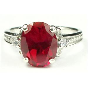 SR136, Created Ruby, 925 Sterling Silver Ring