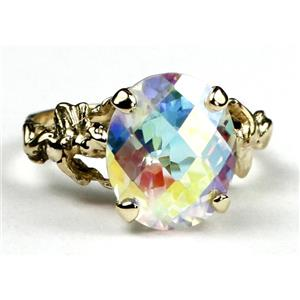 R154, Mercury Mist Topaz, Gold Angel Ring