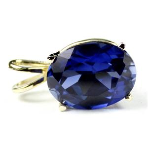 P006, Created Blue Sapphire, 14k Gold Pendant