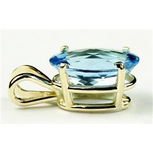 P006, Swiss Blue Topaz, 14K Gold Pendant