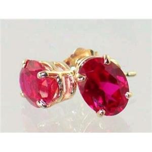 E002, Created Ruby, 14k Gold Earrings