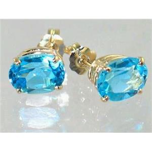E002, Swiss Blue Topaz, 14k Gold Earrings