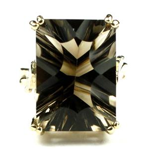 R039, Smoky Quartz, Gold Ring