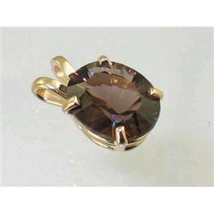 P002, Smoky Quartz 14K Gold Pendant