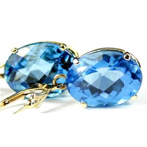 E407, Swiss Blue Topaz, 14k Gold Earrings