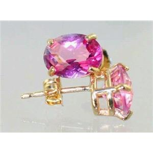 E002, Pure Pink Topaz, 14k Gold Earrings