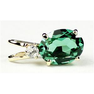 P021, Russian Nanocrystal Emerald, 14k Gold Pendants