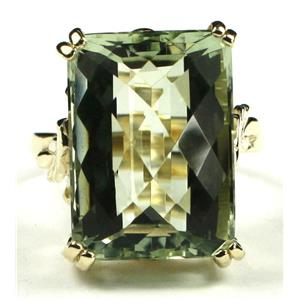 R039, Green Amethyst, Gold Ring