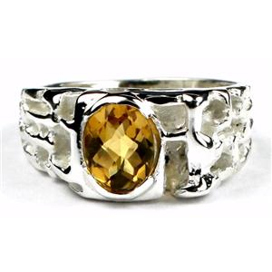 SR197, Citrine, 925 Sterling Silver Men's Ring