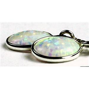 SE005, Created White Opal, 925 Sterling Silver Threader Earrings