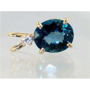 P022, London Blue Topaz 14K Gold Pendant w/accent