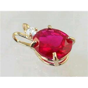 P022, Created Ruby 14K Gold Pendant w/accent
