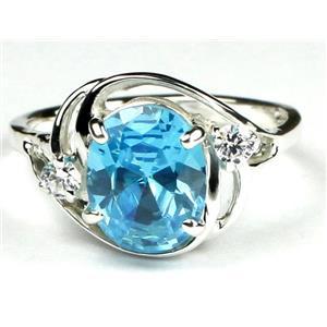 Swiss Blue CZ, 925 Sterling Silver Ring, SR021