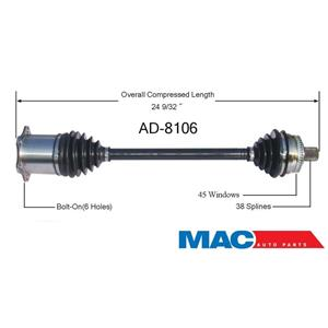 nEw Front RIGHT Passenger C.V CV Axle Shaft Drive Driveshaft for Audi Automatic