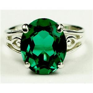 SR139, Russian Nanocrystal Emerald, 925 Sterling Silver Ring