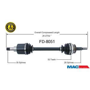 FD-8051 CV Axle Shaft  New P/S Will Not Fit AF50N AX4N Transmission Must Call Ck