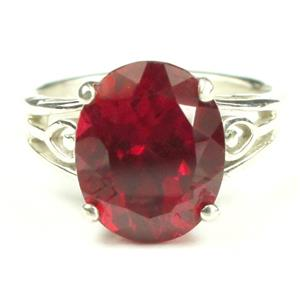 SR139, Created Ruby, 925 Sterling Silver Ring