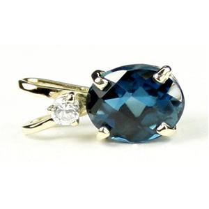 P020, London Blue Topaz, 14k Gold Pendant