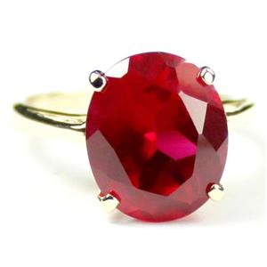R055, Created Ruby, Gold Ring