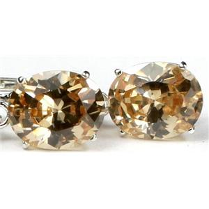SE107, Champagne CZ, 925 Sterling Silver Earrings