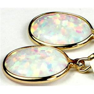 E101, Created White Opal, 14k Gold Earrings