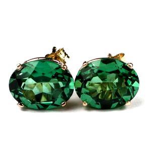 E102, Russian Nanocrystal Emerald, 14K Gold leverback Earrings