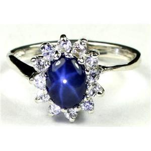 SR235, Blue Star Sapphire, 925 Sterling Silver Ring