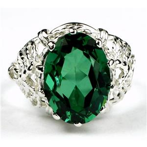 SR260, Russian Nanocrystal Emerald, 925 Sterling Silver Ring